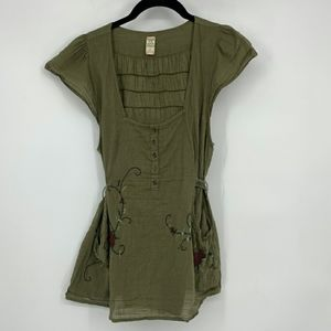 Free People Army Green Embroidered Back Tie Top XS